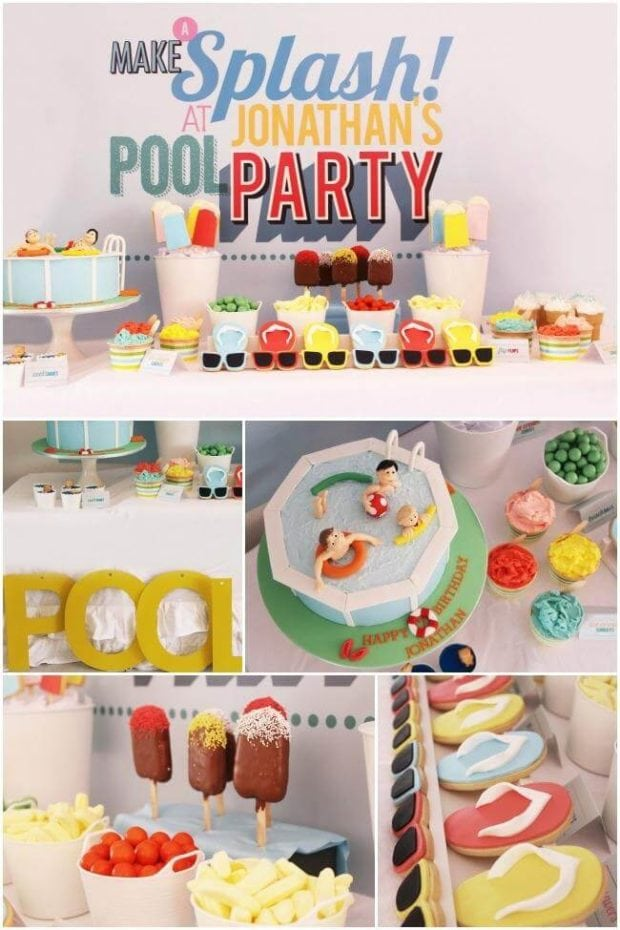 Many different kinds of food, with Party and Idea
