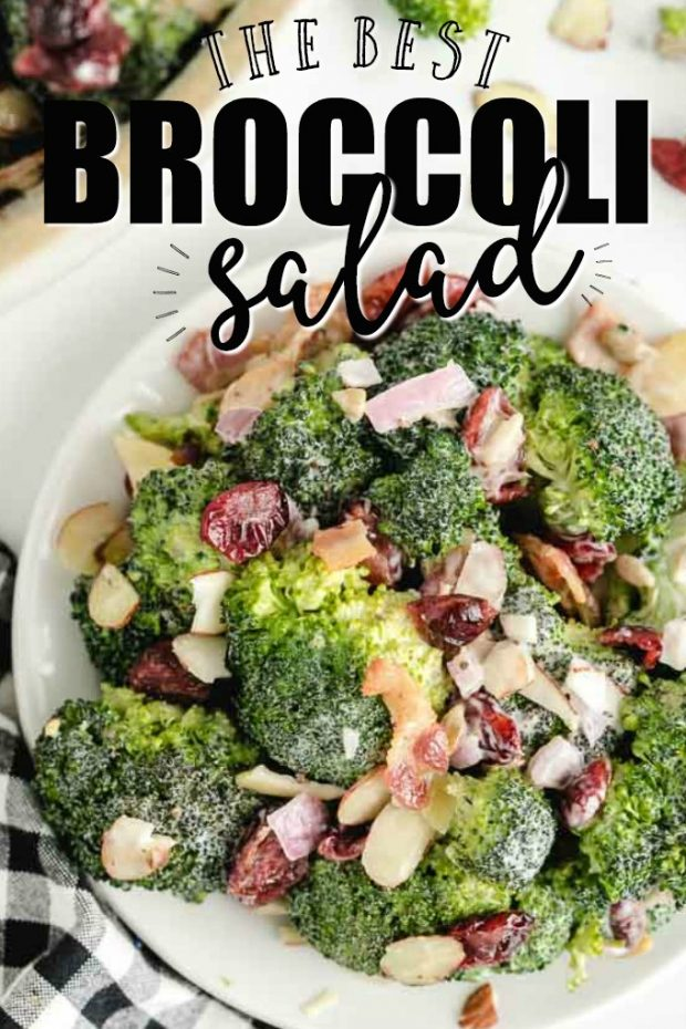 A plate of food with broccoli, with Salad and Almond