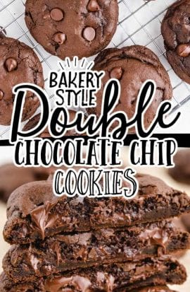 double chocolate chip cookies stacked on top of each other and on a cooling rack