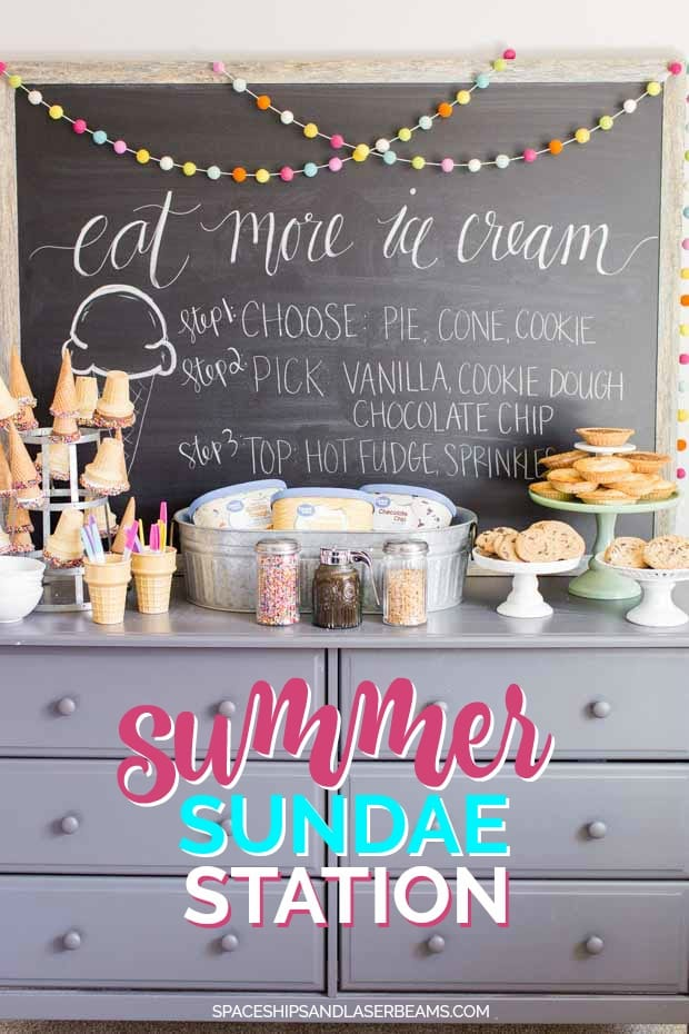 ICE CREAM SUNDAE DESSERT BAR WITH HOMEMADE HOT FUDGE