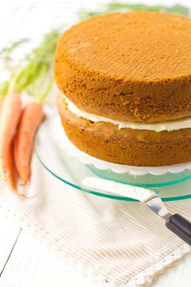 Two layers of carrot cake