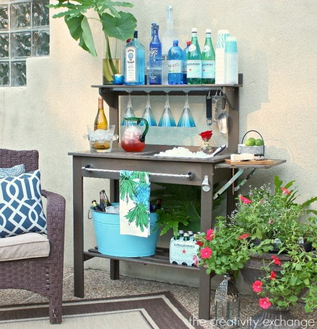 Potting Bench Turned Outdoor Bar by The Creativity Exchange