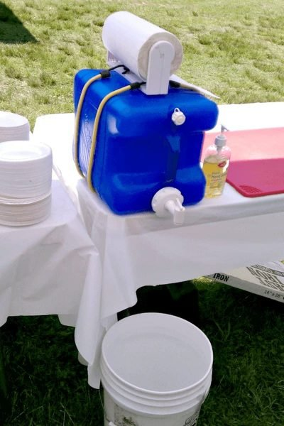diy hand wash station camping hack