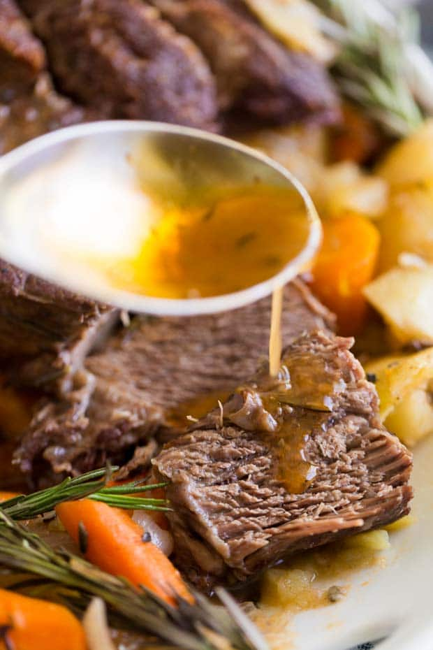 A close up of a plate of food, with Pot roast and Beef
