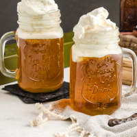 butterbeer in a glass mug