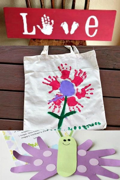 photo collage of three mother's day handprint crafts