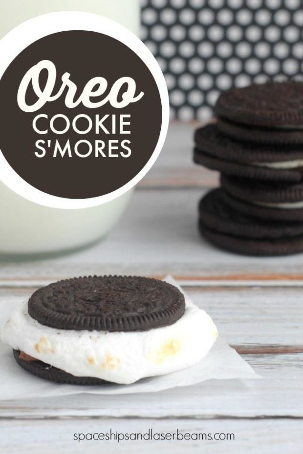 Oreo Smores in front of a stack