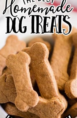 close up shot of homemade dog treats piled in a white bowl