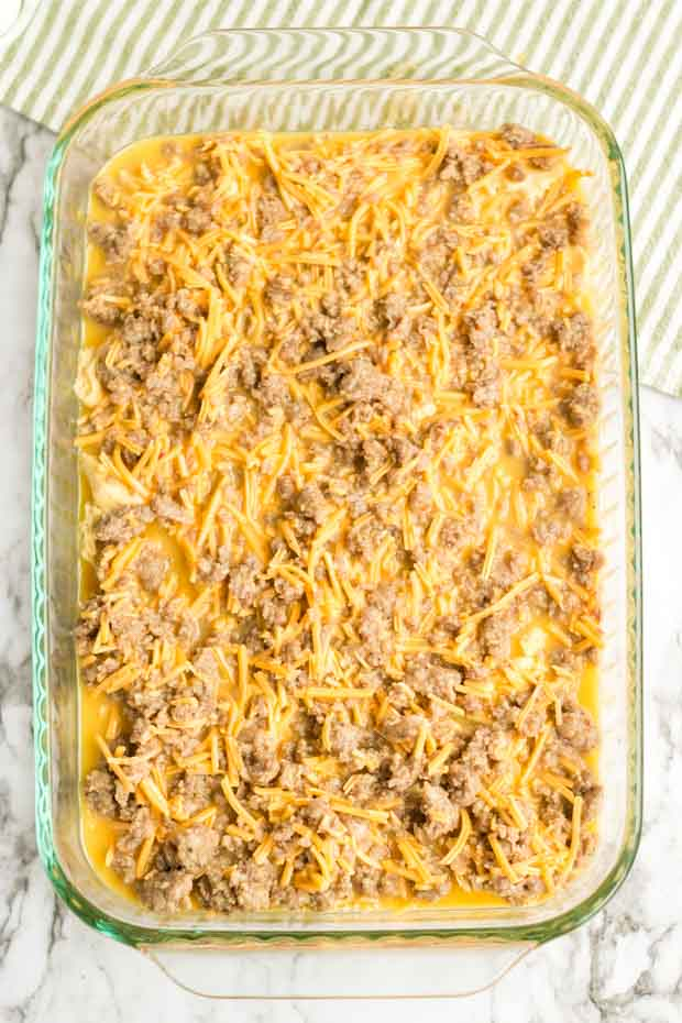 Casserole Dish with Uncooked Sausage Breakfast Casserole