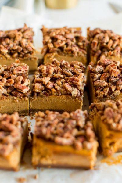 pumpkin cheesecake bars cut into squares