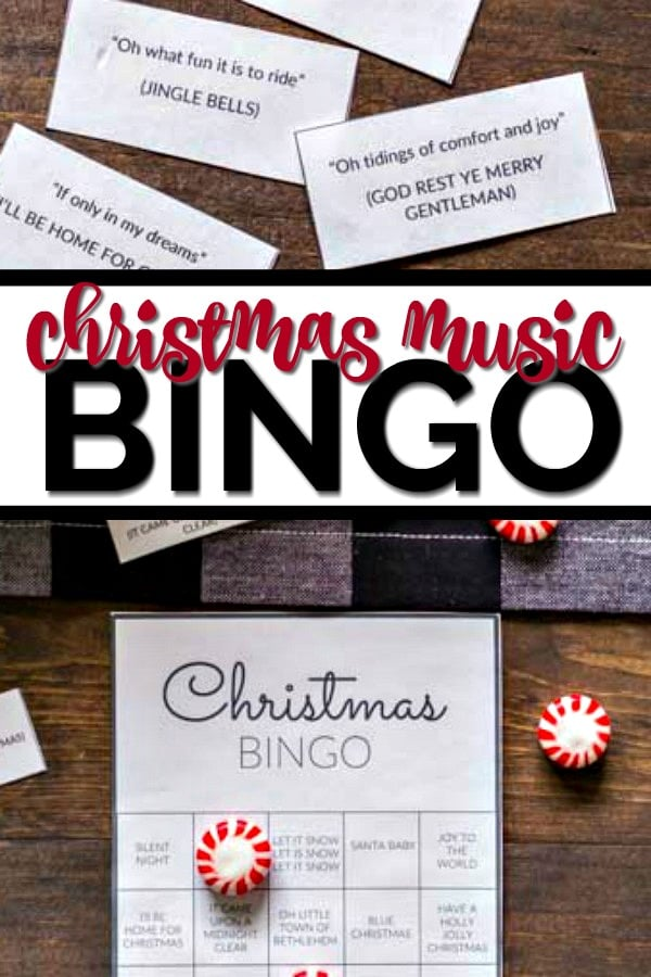 Christmas music bingo overhead shots