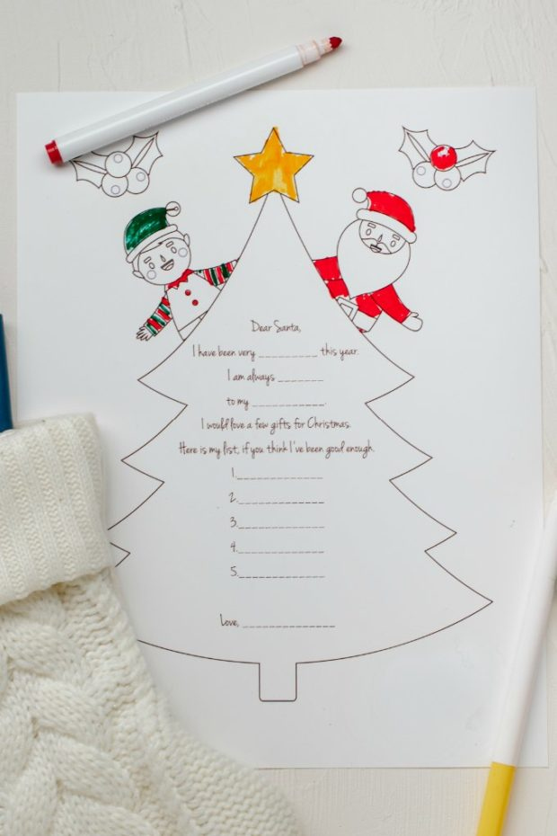 santa letter coloring sheet