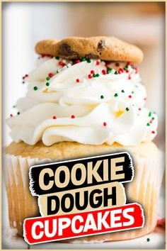 Cookie dough cupcakes for Santa #cookiedough #cupcakes #dessert #recipe #frosting #chocolatechipcookie #party