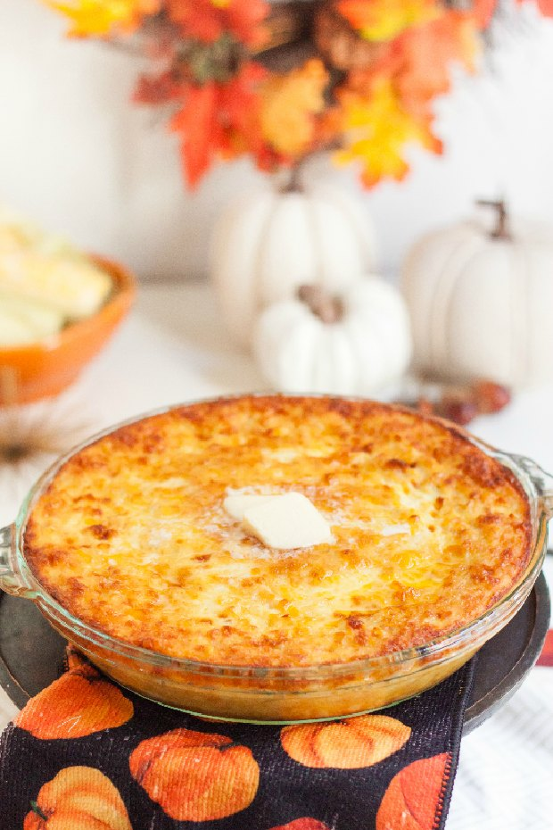 Baked Corn Pudding in a Glass Dish