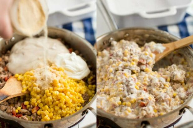 photo collage showing steps for making cowboy casserole