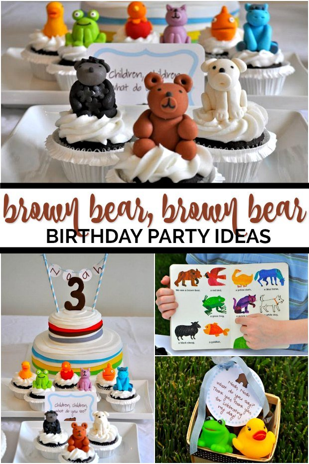 Collage of Brown Bear Brown Bear Book Party Ideas