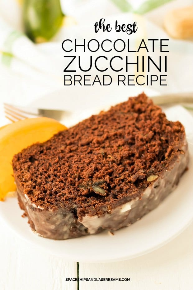 Slice of chocolate zucchini bread on a white plate