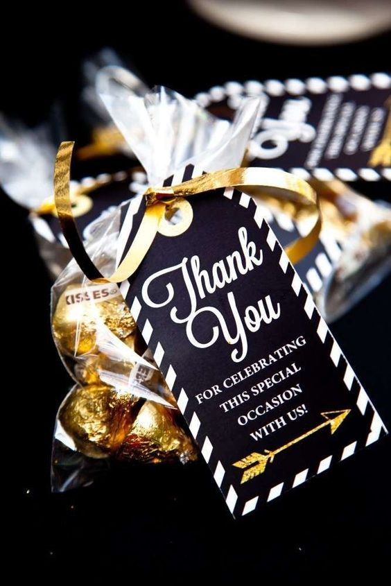 Black and Gold Graduation Party Favor via Sunshine Parties on Etsy | 19 Graduation Party Favor Ideas