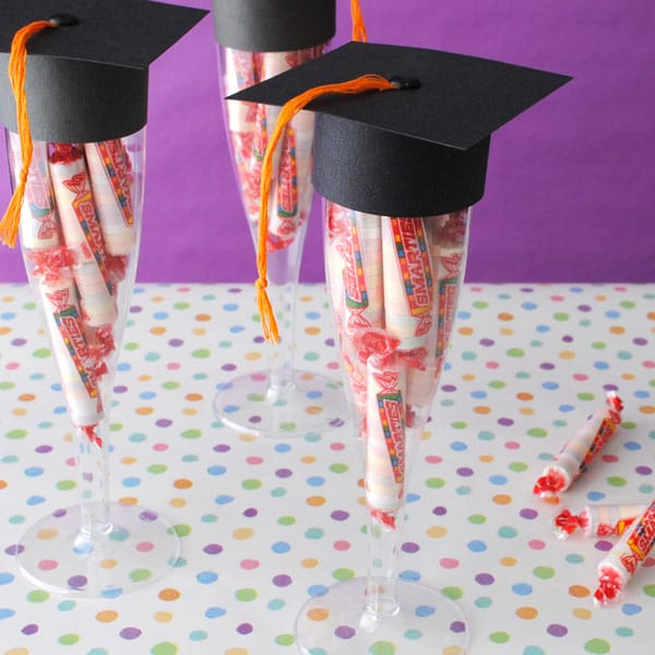 Graduation Cap Smarties by Bottle Your Brand | 19 Graduation Party Favor Ideas