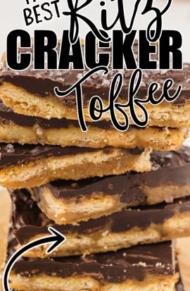 ritz cracker toffee stacked on top of each other