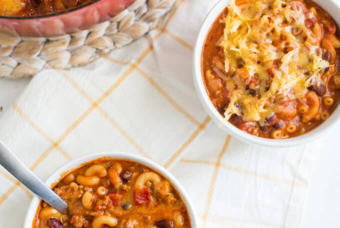Bowls of chili mac and cheese