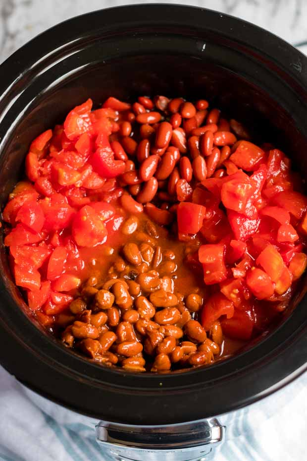A bowl of food, with Slow cooker and Bean