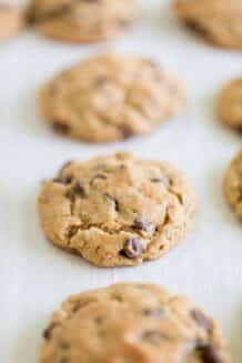 row of oatmeal chocolate chip cookies