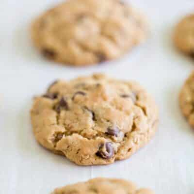 row of oatmeal chocolate chip cookies