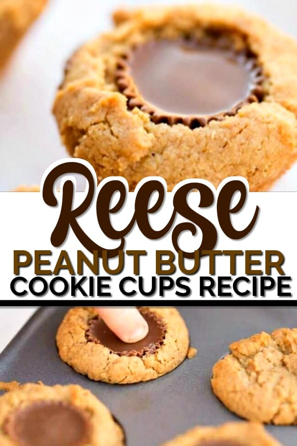 Cookies made from Reese Peanut Butter Cups and your favorite peanut butter cookie recipe. These are THE BEST.