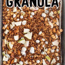 close up overhead shot of apple cinnamon granola on a baking tray