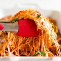 A close up of food, with Spaghetti
