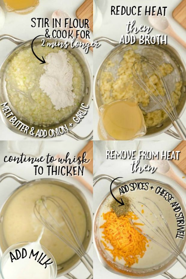 four photos showing HOW TO MAKE SAUCE FOR SCALLOPED POTATOES