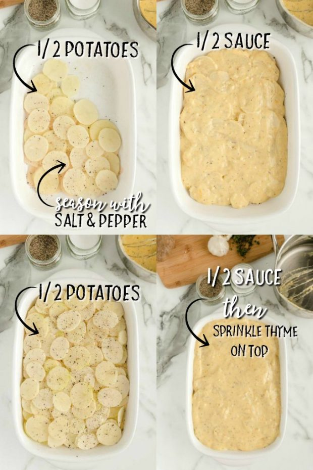 four photos showing HOW-TO-MAKE-SCALLOPED-POTATOES