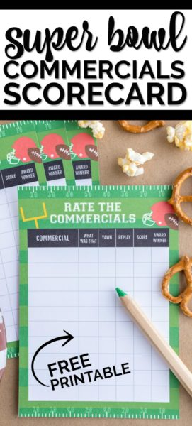 Free Super Bowl Printable - Rate Commercials