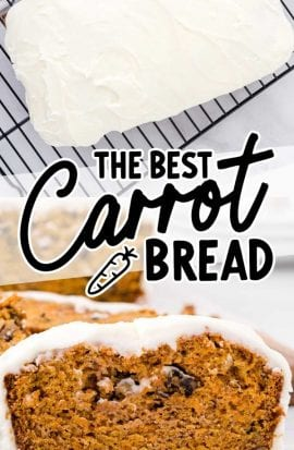 close up shot of a slice of carrot bread and a overhead view of a loaf of carrot bread
