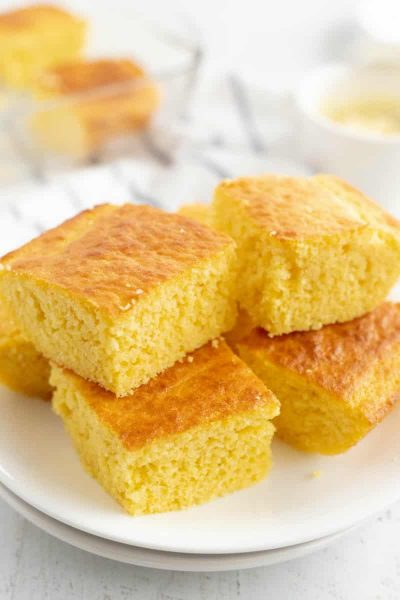 cornbread stacked on plate