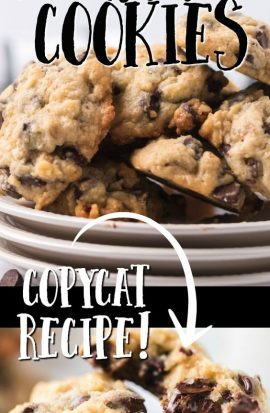 chocolate chip cookies on a plate with text doubletree cookie copycat recipe