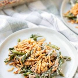 A plate full of food, with Casserole and Green bean
