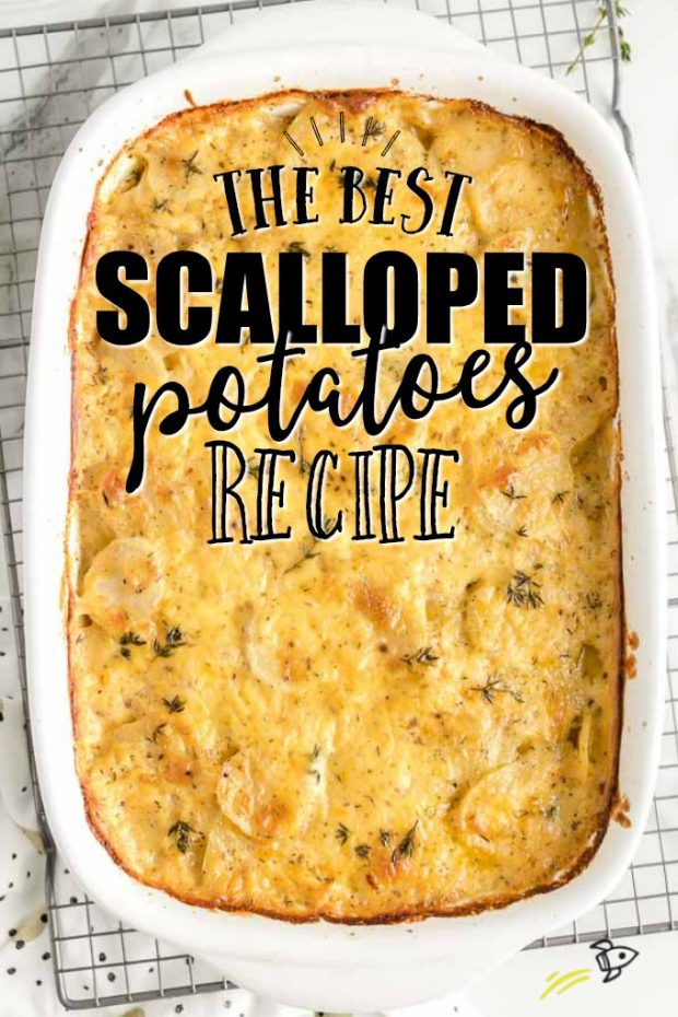 scalloped potatoes in casserole dish