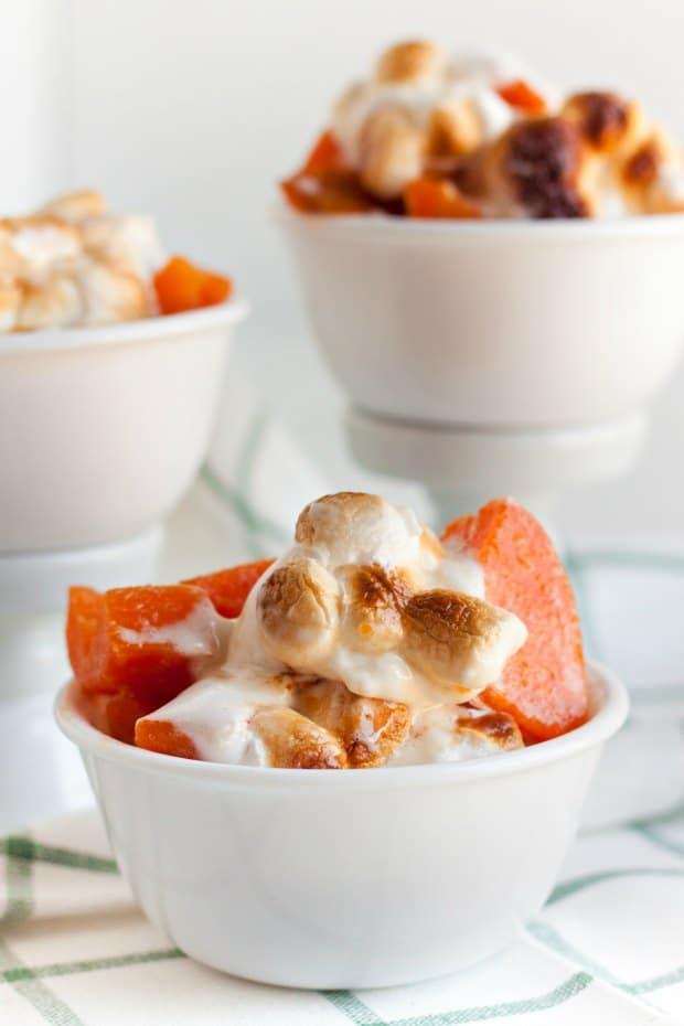 Bowl of sweet potato casserole