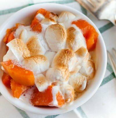 sweet potato casserole in a bowl