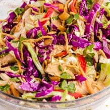 close up shot of Chinese chicken salad in a bowl