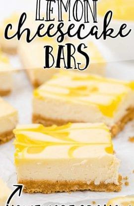 close up shot of lemon cheesecake bars