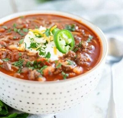 beef and bean chili in a bowl