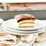 slice of eclair cake on white plates