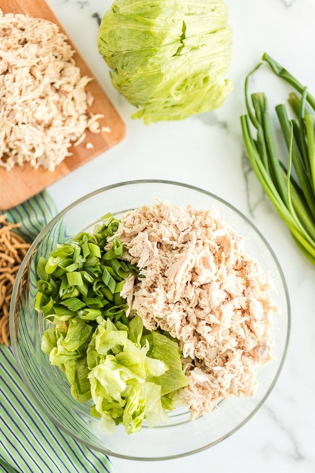 ingredients in bowl for chinese chicken salad