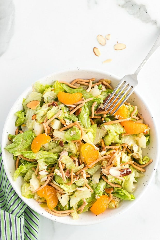 bowl of mandarin orange chicken salad