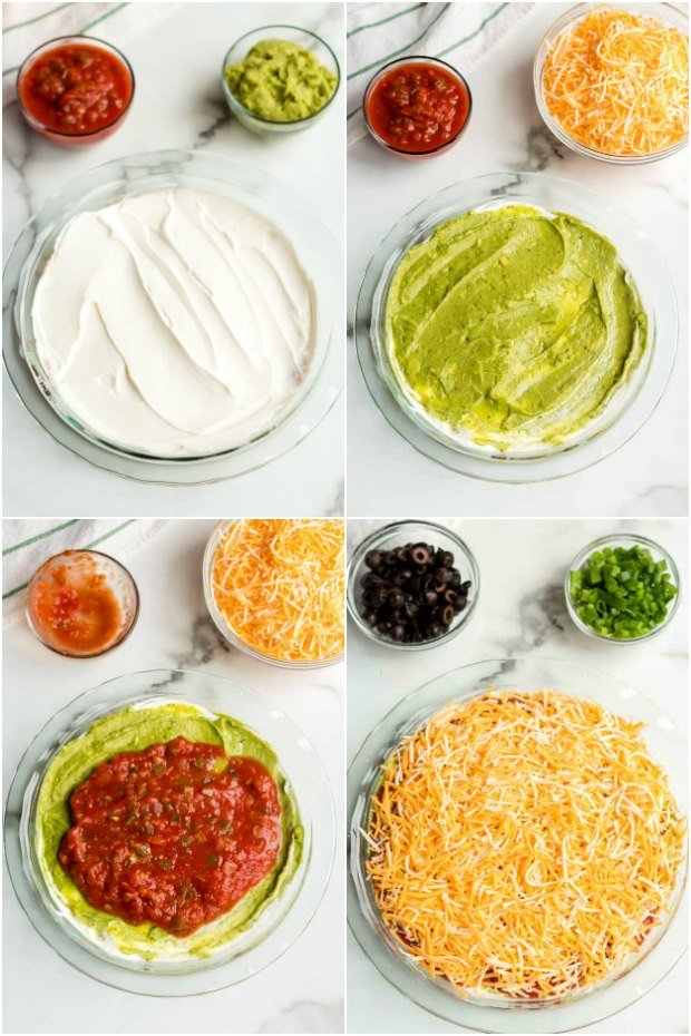 steps in making seven layer dip recipe