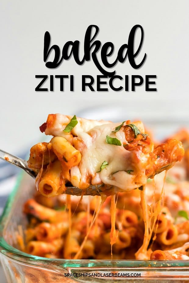baked ziti with chicken being served from casserole dish