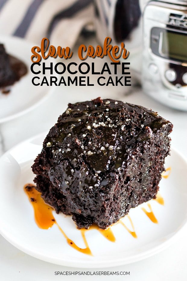 A piece of chocolate cake on a plate, with Caramel and Slow cooker